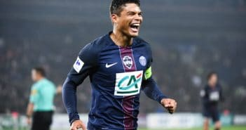 Thiago Silva of PSG celebrates after scoring during the French National Cup match between PSG and Sc Bastia, round of 64 at Parc des Princes on January 7, 2017 in Paris, France. (Photo by Anthony Dibon/Icon Sport)
